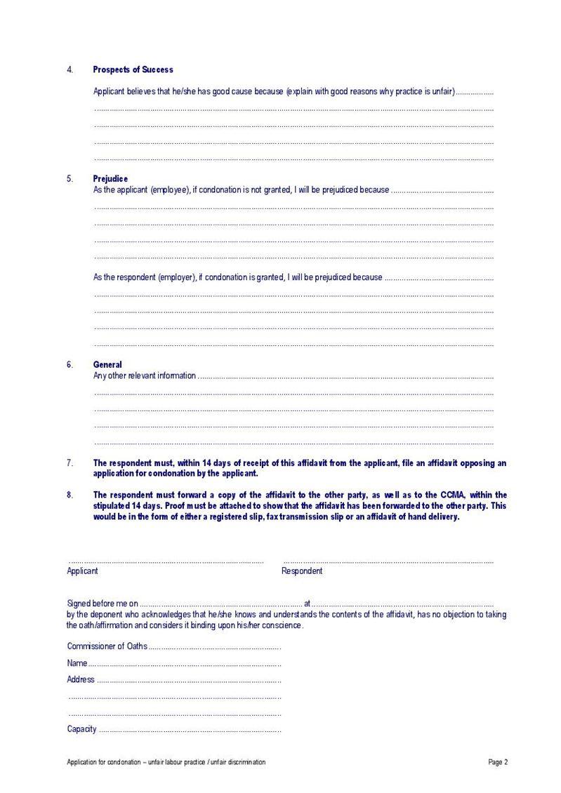 Condonation Application - Unfair Labour Practice (CCMA