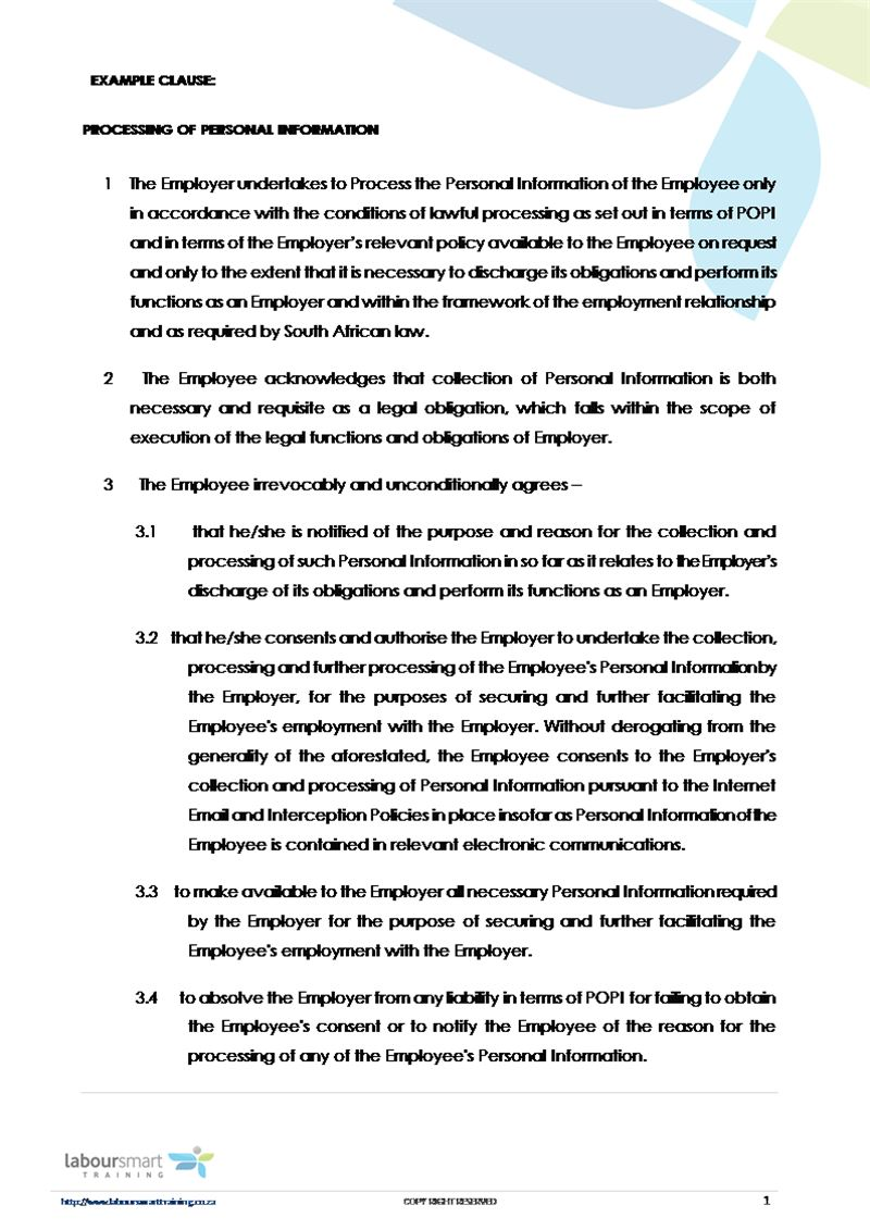 POPI Example Clause, Document, Labour Law, South Africa, Download