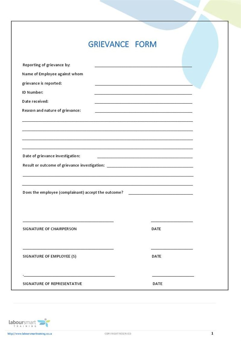 grievance form  document  labour law  south africa  pdf