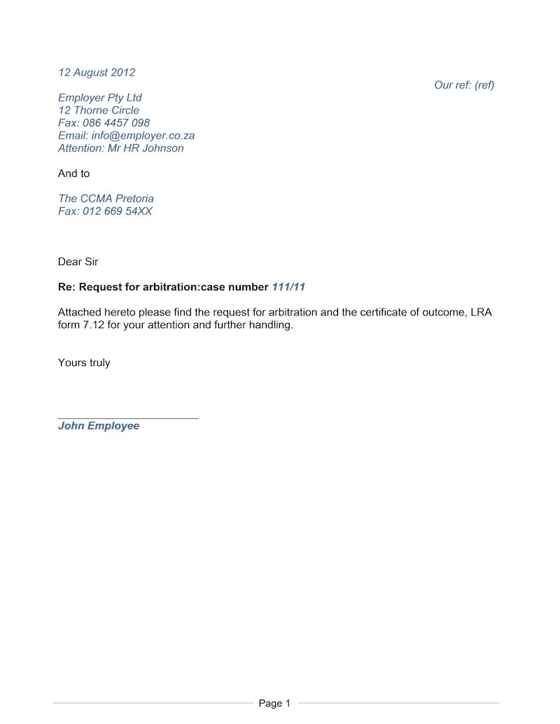 Letter request for arbitration document labour law south africa page spiritdancerdesigns