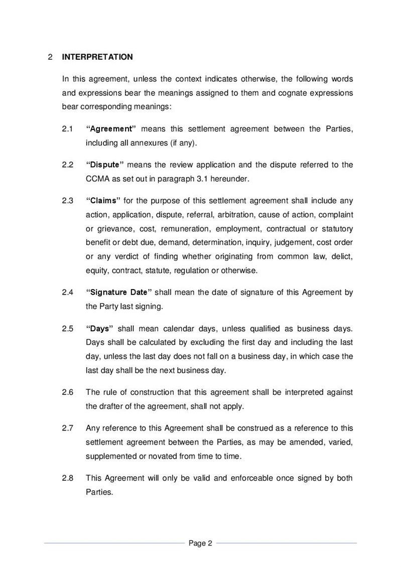 Settlement Agreement - Formal, Document, Labour Law, South