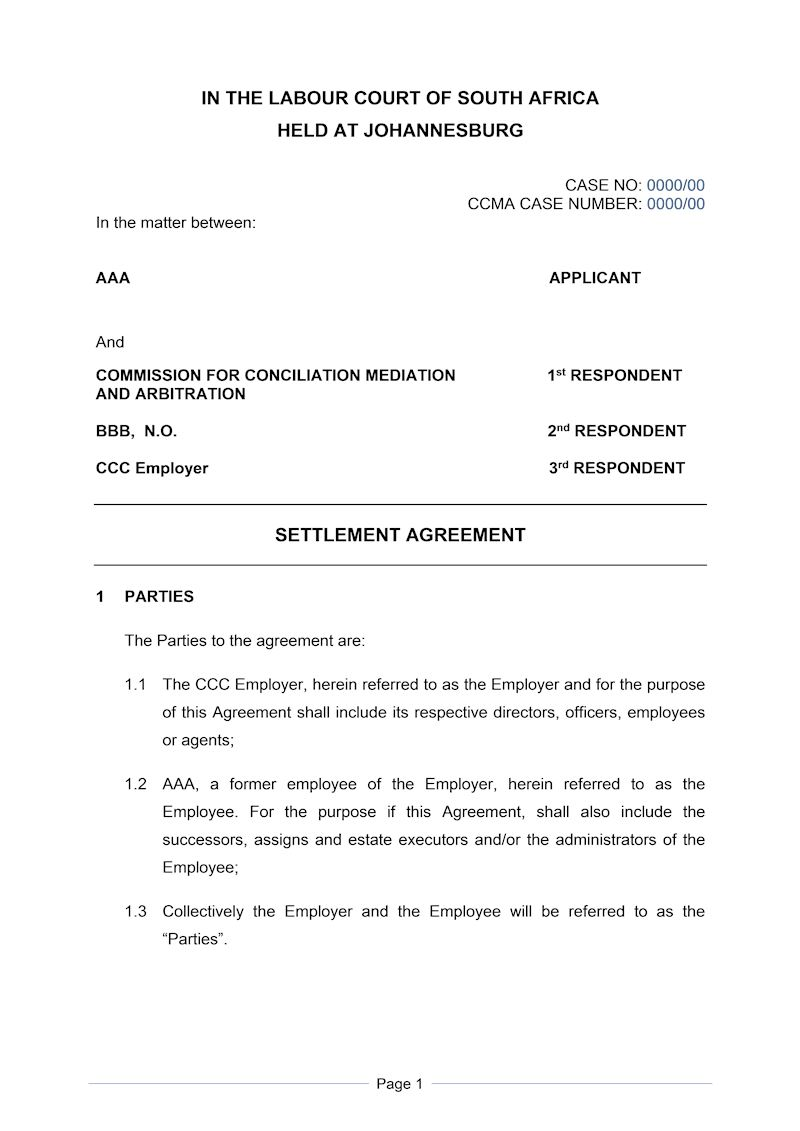 Settlement Agreement Formal Document Labour Law South Africa