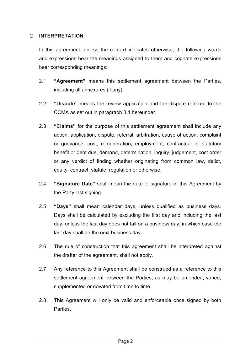 Settlement Agreement Formal Document Labour Law South