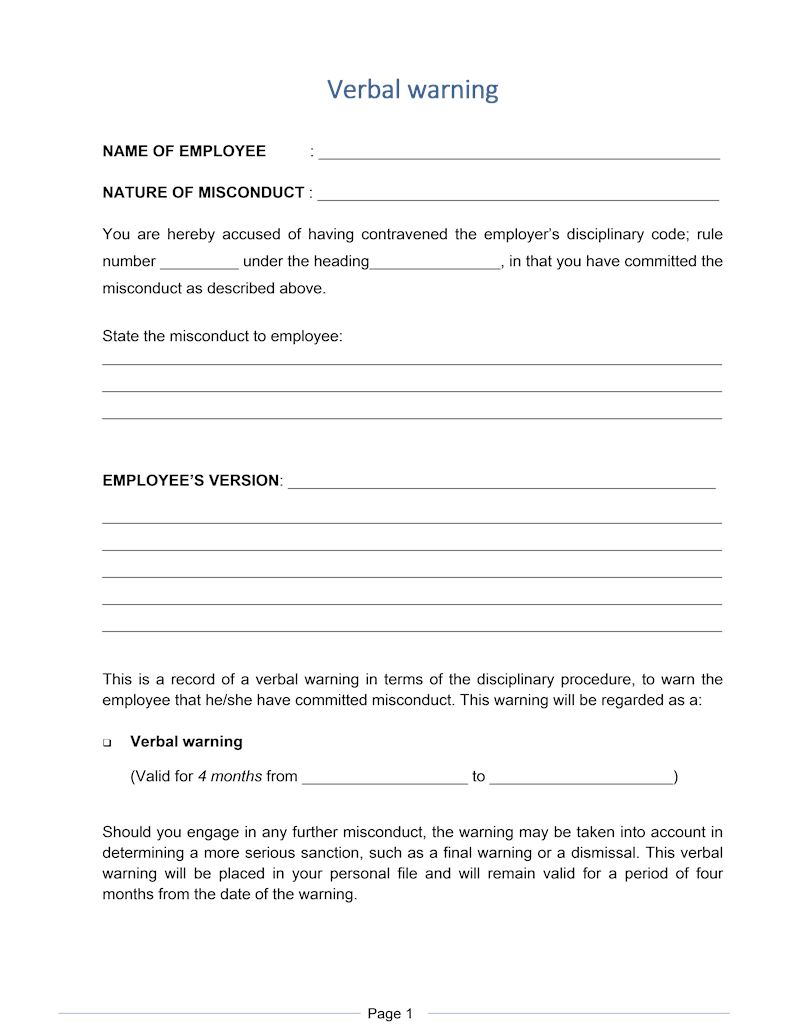 Verbal warning, Document, Labour Law, South Africa, Download