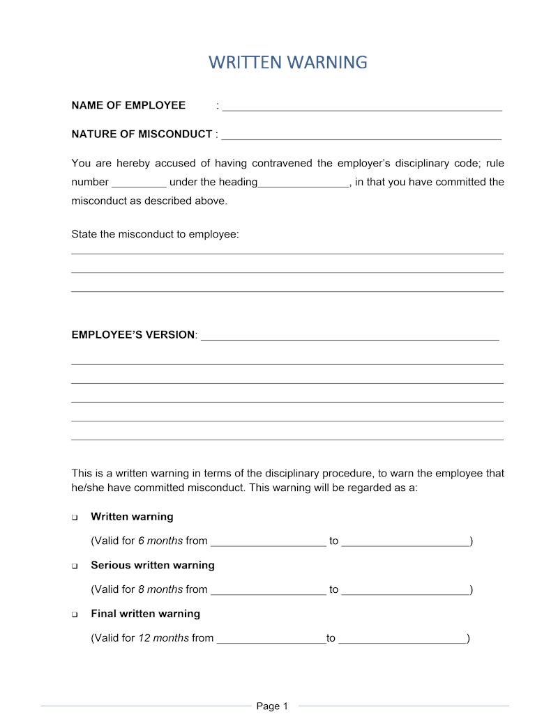 Written warning document labour law south africa download page thecheapjerseys Image collections