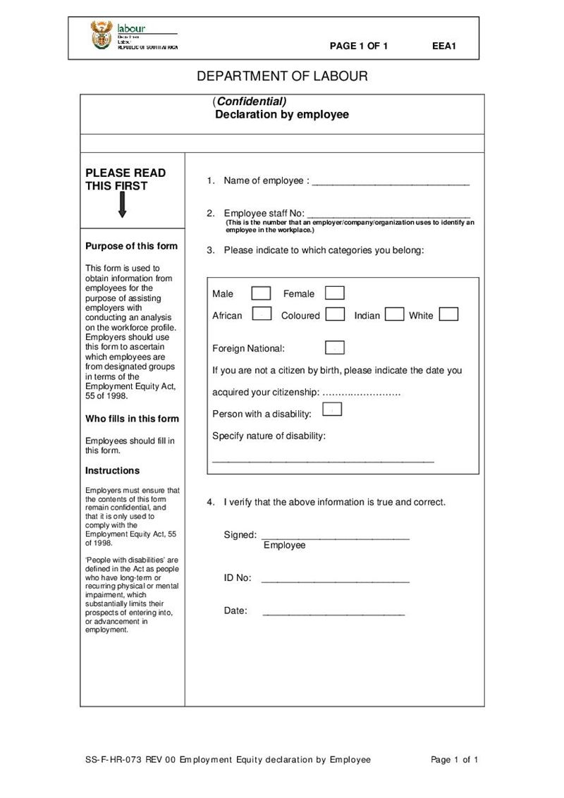 Form EEA 1 Employment Equity Declaration by Worker Document – Employee Declaration Form