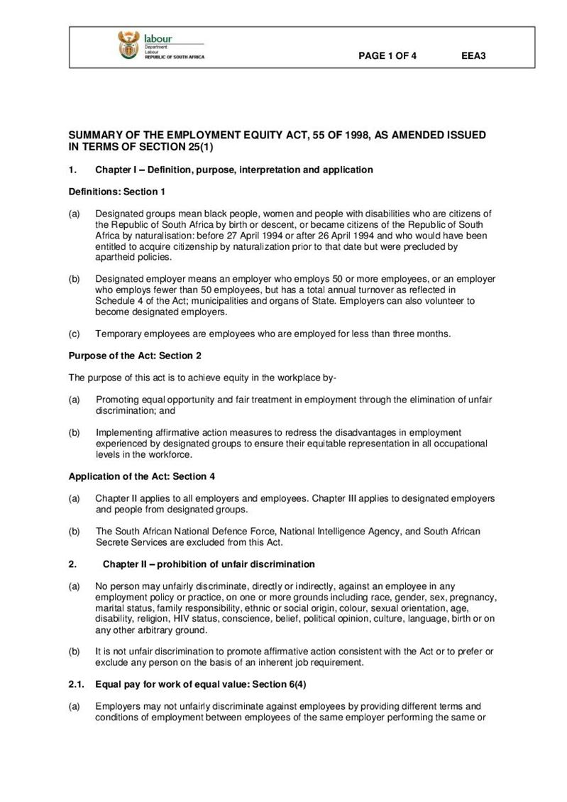 EEA 3 - Summary of the Employment Equity Act 55 of 1998, Doent ... Application Form Eea on application to rent california, application meaning in science, application error, application submitted, application for rental, application for employment, application service provider, application template, application cartoon, application insights, application to join motorcycle club, application database diagram, application clip art, application for scholarship sample, application in spanish, application approved, application to be my boyfriend, application to date my son, application to join a club, application trial,