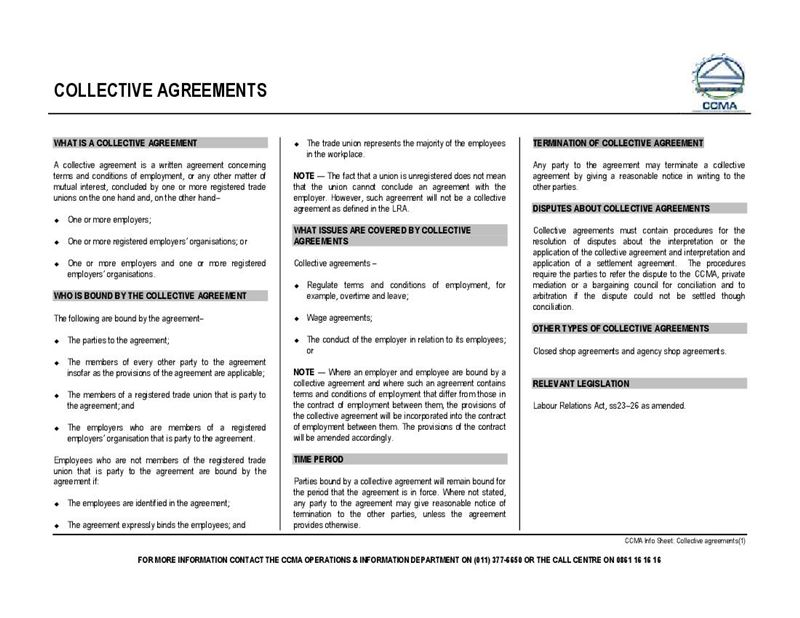 Collective Agreements Ccma Document Labour Law South Africa Pdf