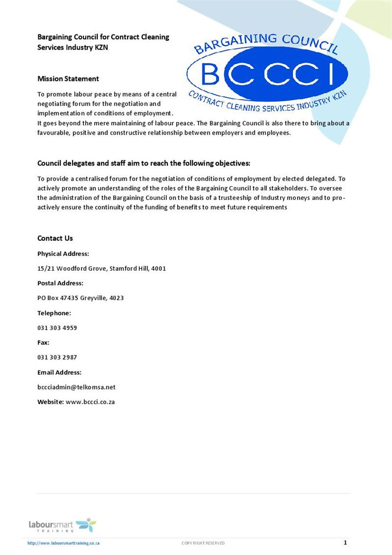 contract cleaning services industry kzn  bccci   document