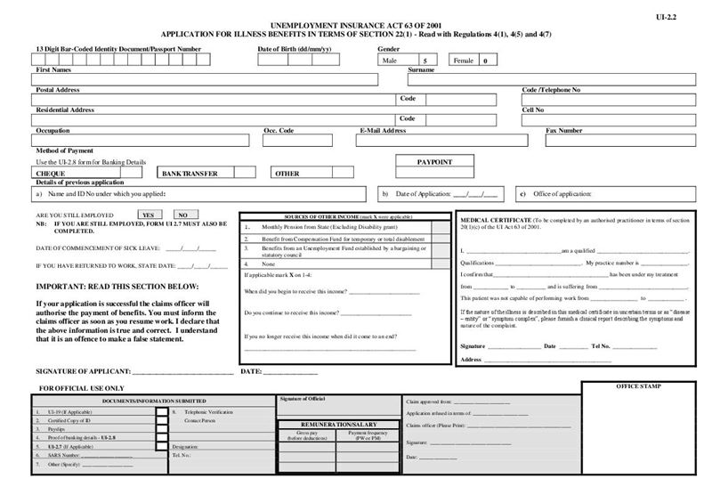 form ui 22 applications for illness benefits document