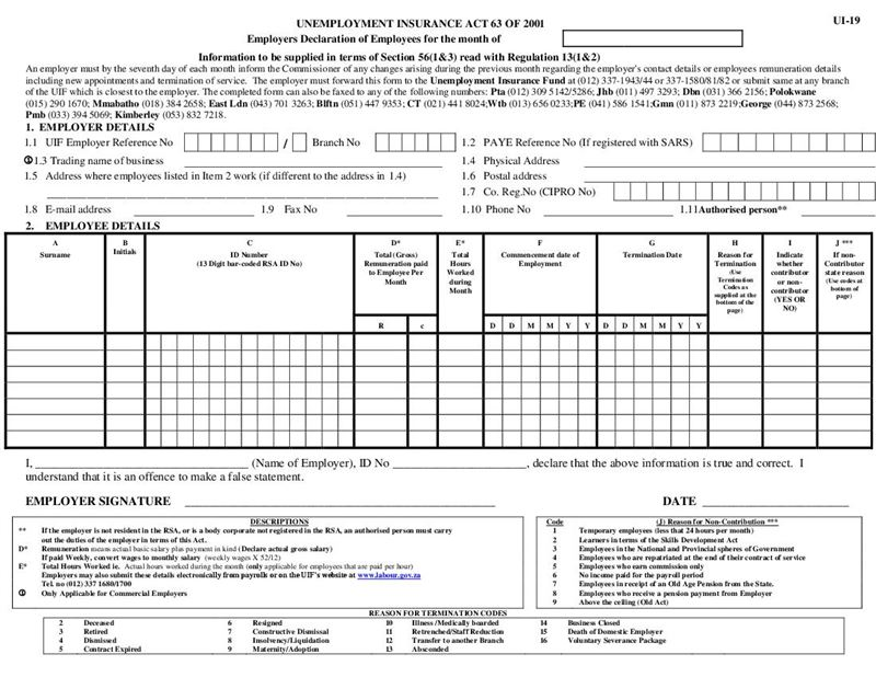 Form Ui 19 Employers Declaration Of Employees Document Labour