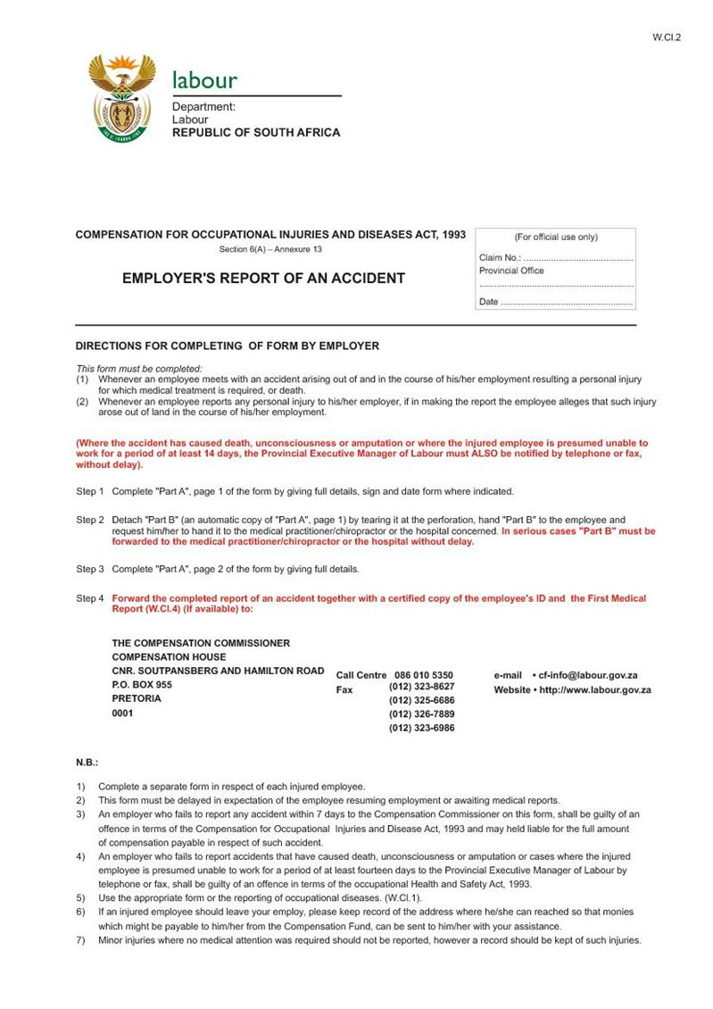 employers report of an accident - coid