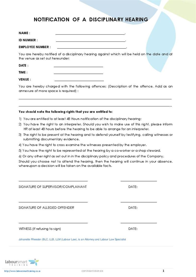 notice of disciplinary hearing form  document  labour law