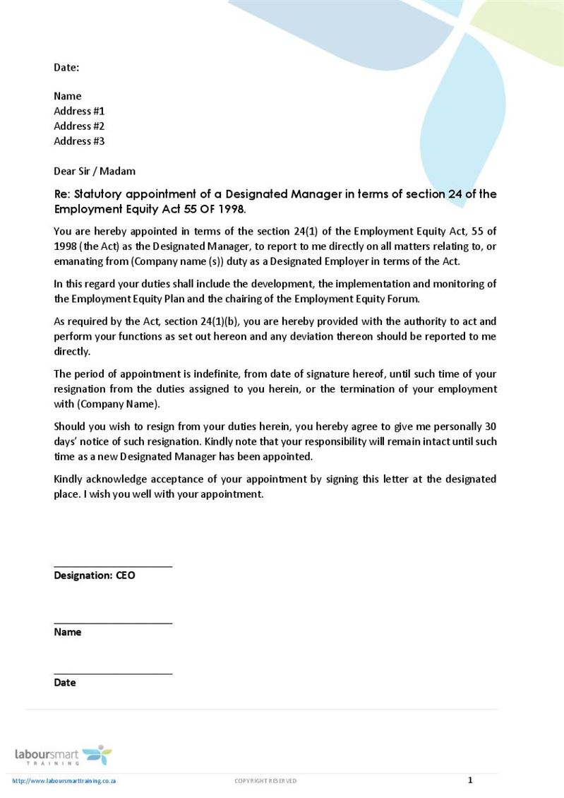 Appointment Letter Of Designated Ee Manager Document Labour Law