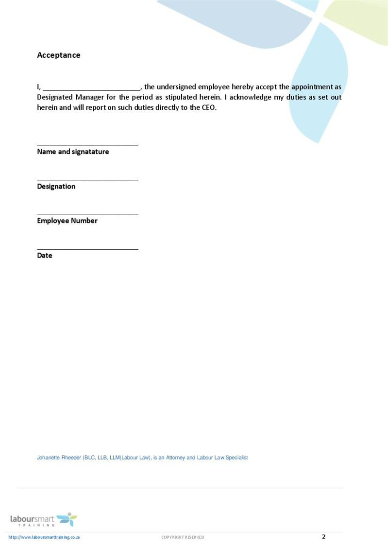 Appointment letter of designated ee manager document labour law page altavistaventures Choice Image