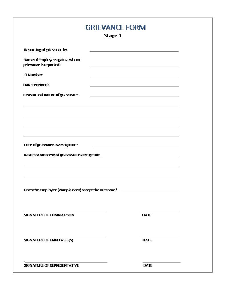 Grievance form stage 1 document labour law south africa for Grievance outcome letter template